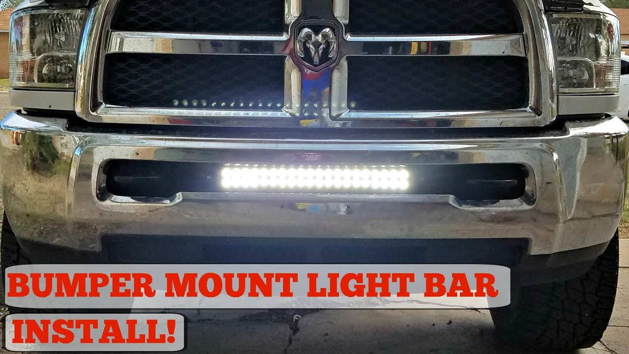 Bumper Mount Led Light Bar Install For 03 17 Ram 2500 Youtube