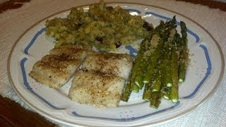 Bobbi's Kitchen Swai In White Wine Sauce And Garlic Roasted Asparagus