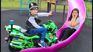 Police Motorcycle Ride on * Playground Fun For Kids with Slides