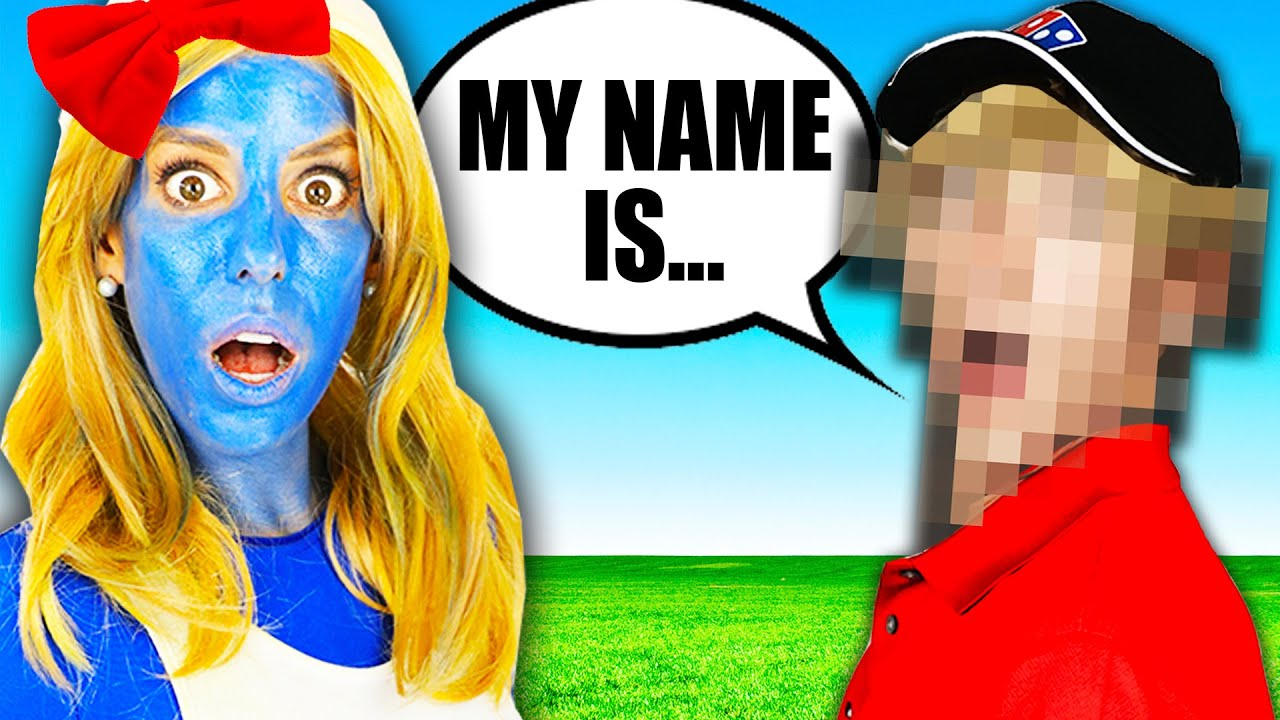 Giant Smurfs Movie in Real Life for Face Reveal of Mystery Man | Rebecca Zamolo