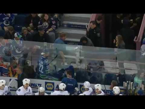 Classy Henrik Sedin Gives Stick to Young Fan Hit by Puck 10/17/14 [HD]