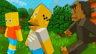 BART AND HOMER SIMPSON FIND BIGFOOT | The Simpsons | Minecraft Xbox
