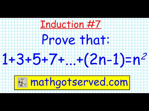 #7 Proof by induction 1+3+5+7+...+2n-1=n^2 discrete prove all n in N  indu