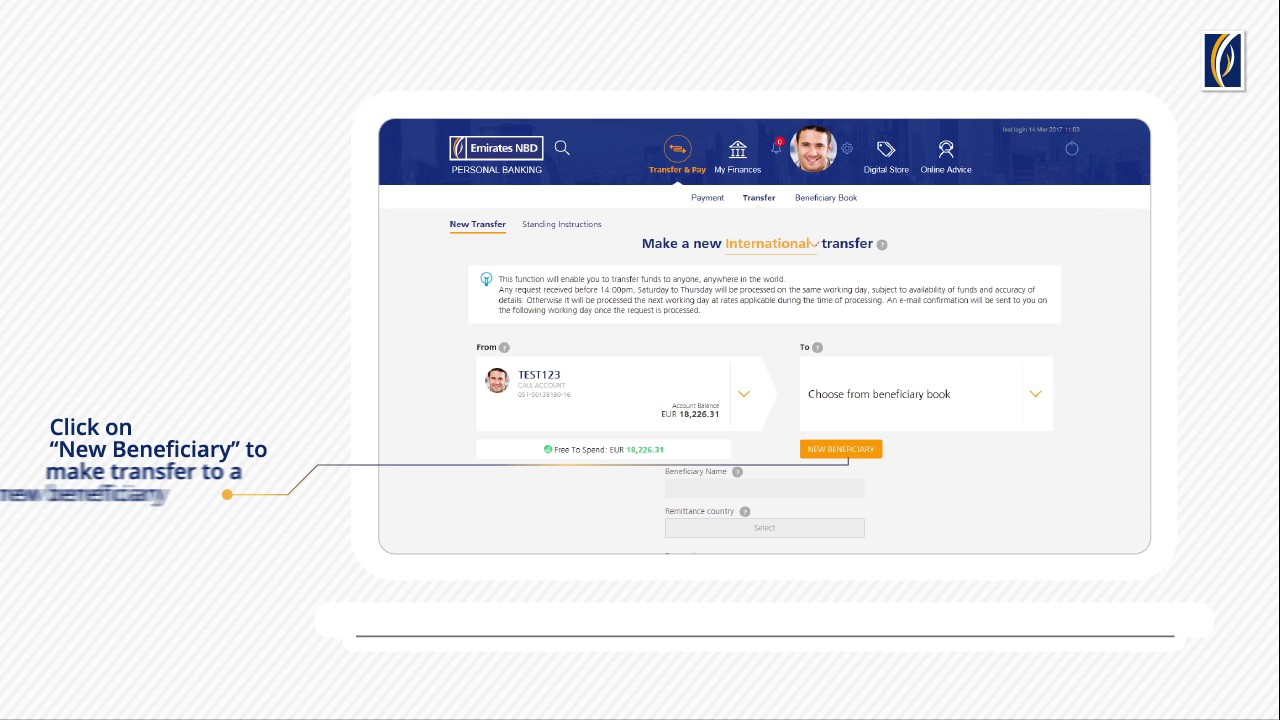 International Transfers with Emirates NBD Online Banking - YouTube