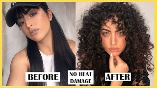 HOW TO CURL VERY LONG STRAIGHT HAIR WITHOUT HEAT | NATURAL CURLS EFFECT