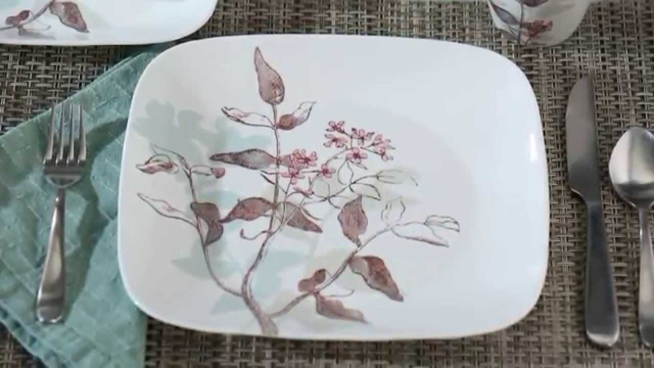 & Corelle - Square Twilight Grove 16 Piece Dinnerware Set - YouTube