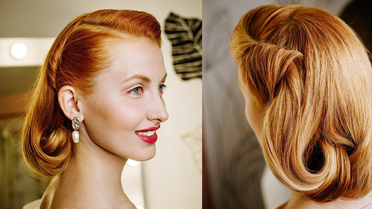 Stunning Pin Up Hairstyle In The Style Of The 40s 50s How To Make A Bob For Long Hair