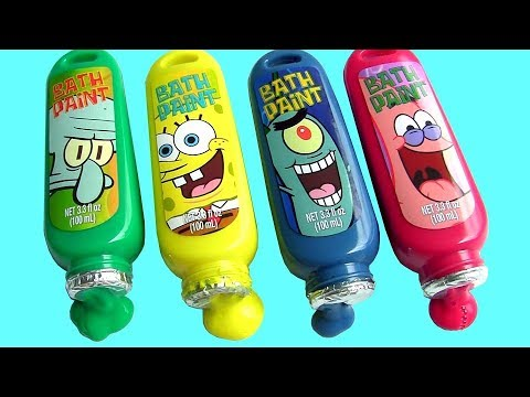 Sponge Bob Bathtub Paint Learn Colors with PJ Masks & Peppa Pig Water Toys