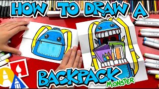 How To Draw A Back To School Backpack Monster