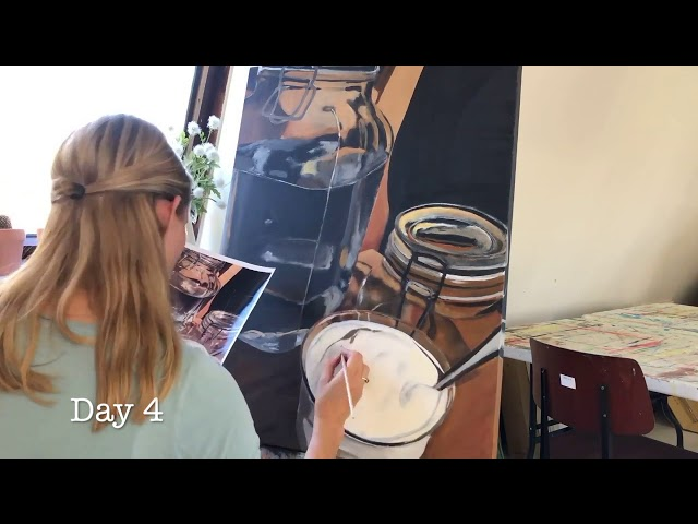 Timelapse of the making of a painting in my studio; Still life with glass
