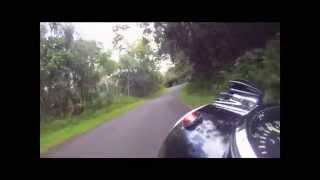 BMW R75/5 motorcycle ride on Puna coast road, Hawaii Big Island