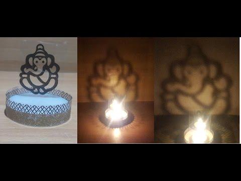 DIY Shadow Ganesha Tea Light candle stand- super simple & very cheap