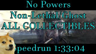 Dishonored 2 - First ever no powers/non-lethal/ghost/all collectibles Speedrun 1:33:04 World Record