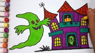 How To Draw A Ghost And Halloween House    Draw For Kids