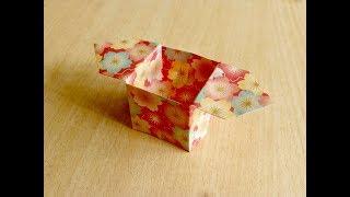 Cara membuat Dibesarkan kotak bawah. Origami. Seni melipat kertas.