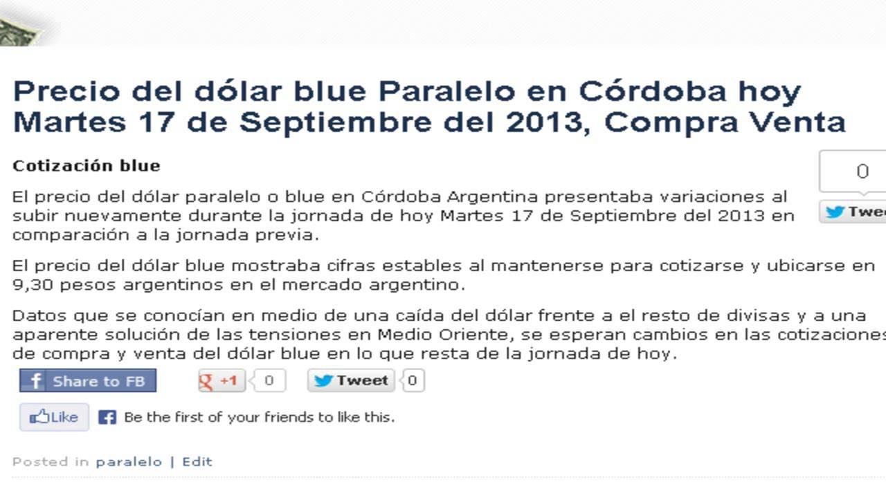 Precio del dólar paralelo blue en Córdoba Argentina Hoy Martes 17 de Septiemb...