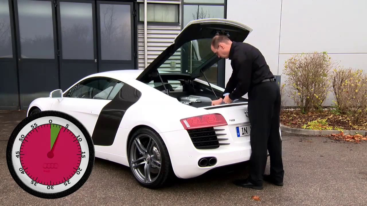 how to check engine oil level audi r8 youtube. Black Bedroom Furniture Sets. Home Design Ideas