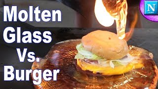 Molten Glass Vs. Burger | Extreme Hot Glass Experiment