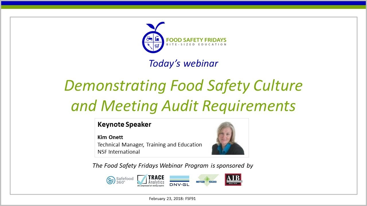 Demonstrating Food Safety Culture and Meeting Audit Requirements