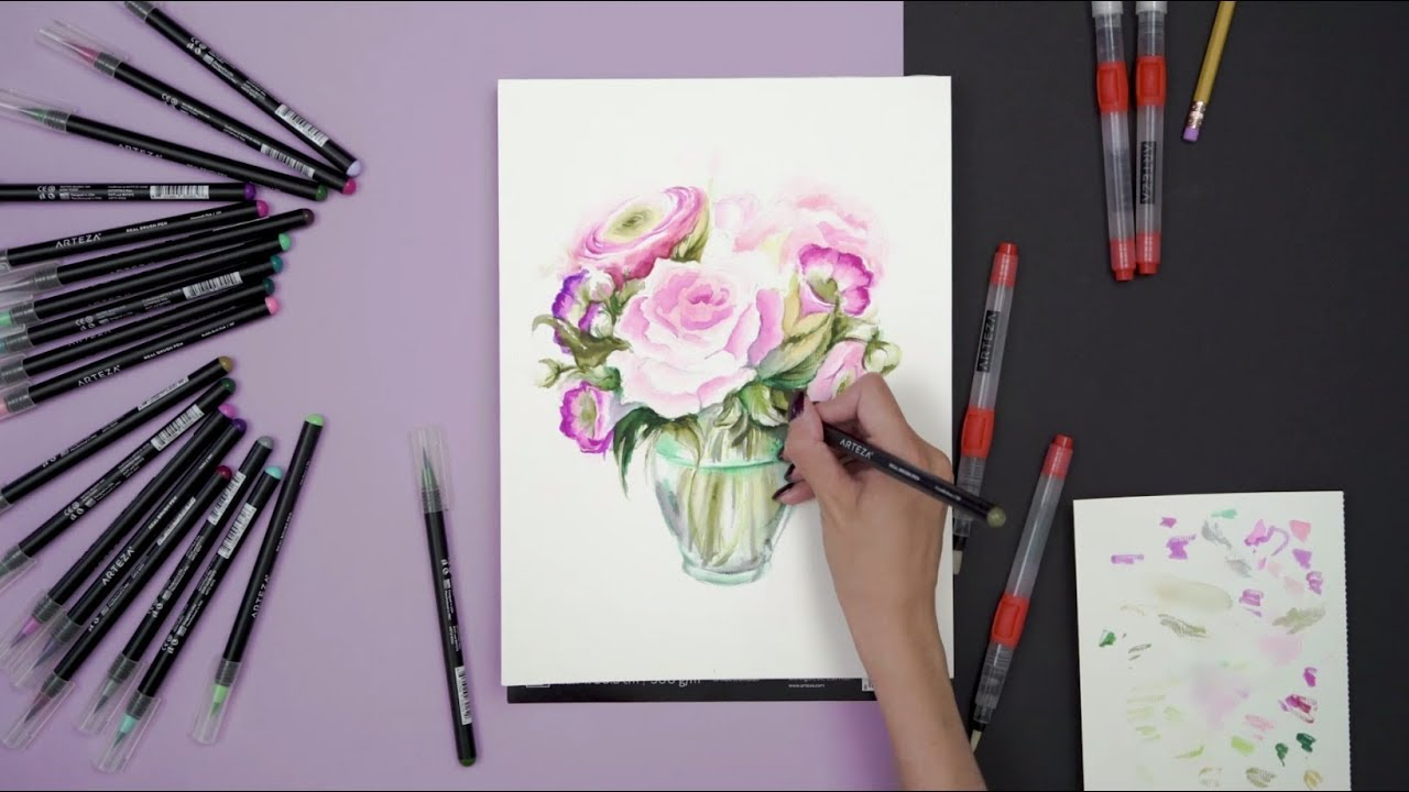 Watercolor Flowers And Paint Brushes: Painting Watercolor Flowers With Real