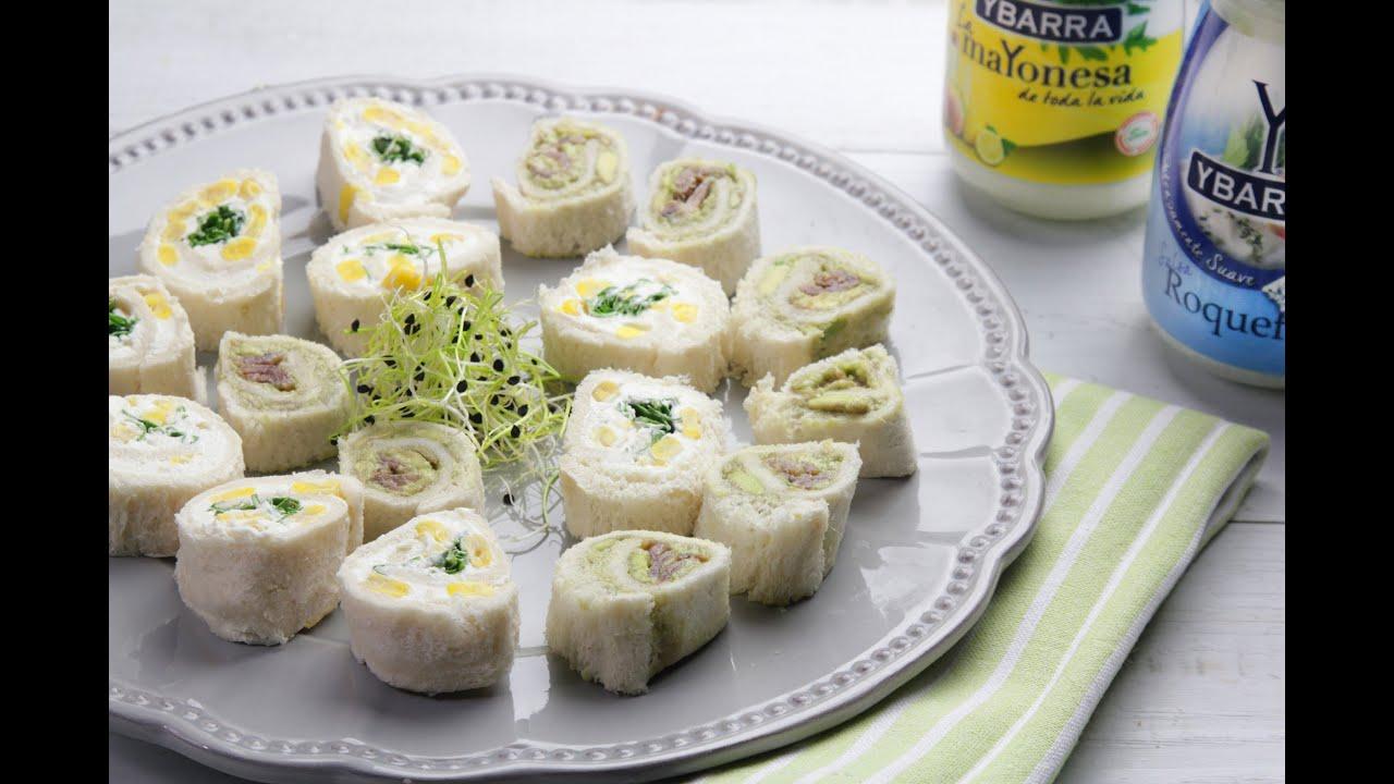 Rollitos de pan de molde ybarra youtube for Canape de pate con cebolla caramelizada