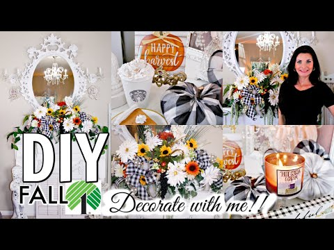"""🍁DIY FALL DOLLAR TREE DECORATE WITH ME 🍁MANTEL FLORAL """"I LOVE FALL"""" ep.6 Olivia's Romantic Home"""