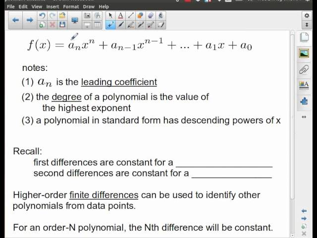 MHF4U - Polynomials - Introduction to Polynomial Functions