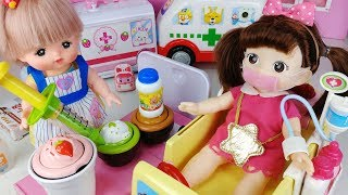 Baby doll and doctor Hospital ambulance toys food play 아기인형 구급차 의사 병원놀이 뽀로로 음식 장난감놀이 - 토이몽