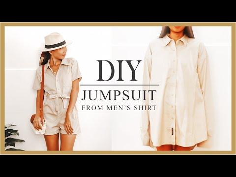Refashion DIY Men's Shirt into Jumpsuit/Romper - YouTube