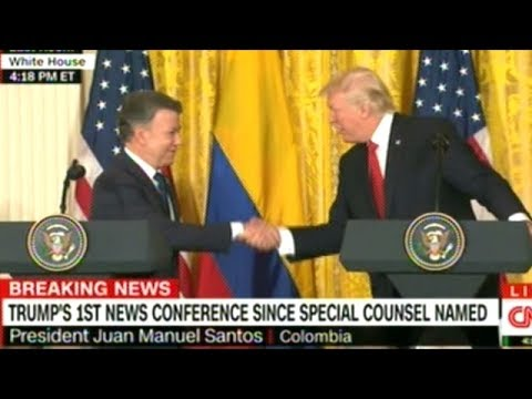 President Trump Takes Questions From The Press With The President Of Columbia At His Side