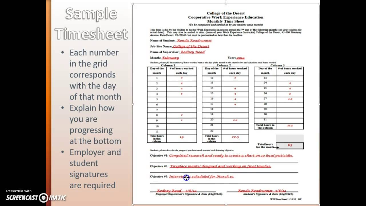 Monthly Timesheet Instructions - YouTube