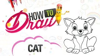 How to Draw a Cat for Kids | Cute Drawing of Animals | How to Draw Cat Coloring Pages