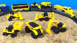 CAT Construction Toy Mighty Machines Build a Train Track - Dump Truck Bulldozer Camion de volteo thumbnail