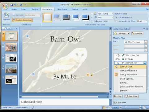 Powerpoint 2007: Adding Sound