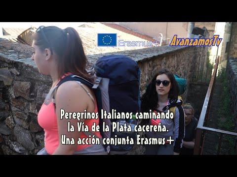 Italian pilgrims walking on Vía de la Plata cacereña. An Erasmus+ Joint Action