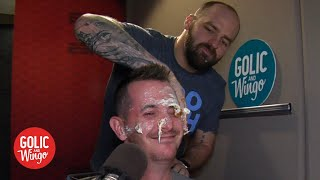 Mike Golic Jr. smashes cake on Jason Fitz's face during his last day on Golic and Wingo