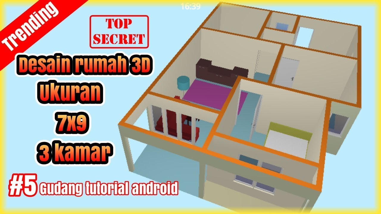 Desain Rumah 3D 7x9 Dengan 3 Kamar Part 5 Floor Plan