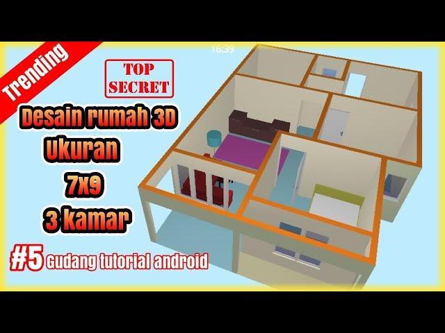 Desain Rumah 3D 7x9 dengan  3 Kamar ||  Part #5 || floor plan creator #likiwan