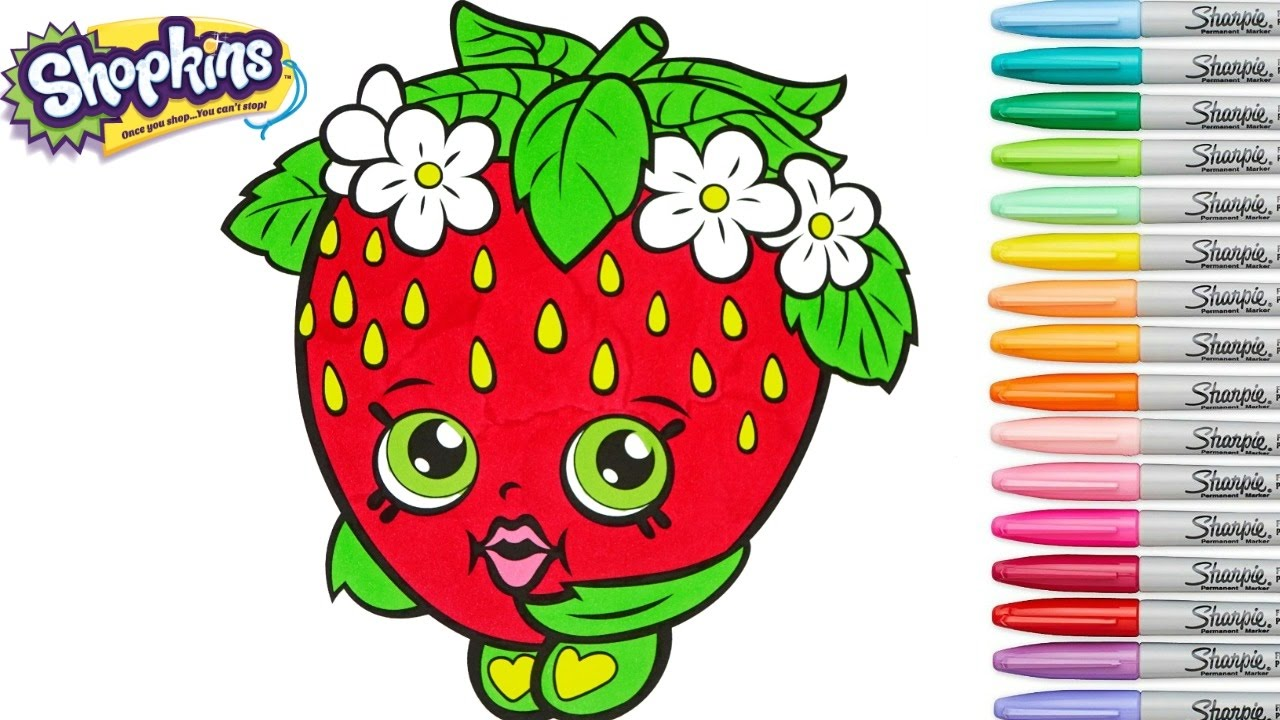 Shopkins Coloring Book Strawberry Kiss Season 1 Colouring Pages Episode Rainbow Splash