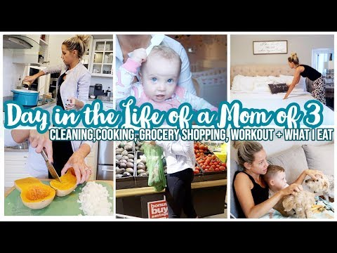 STAY AT HOME MOM DAY IN THE LIFE // COOKING, CLEANING, GROCERY HAUL + WHAT I EAT IN A DAY
