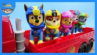 Paw Patrol Chase crosses the bridge. Rescue the Paw Patrol Chase and puppy in the water.