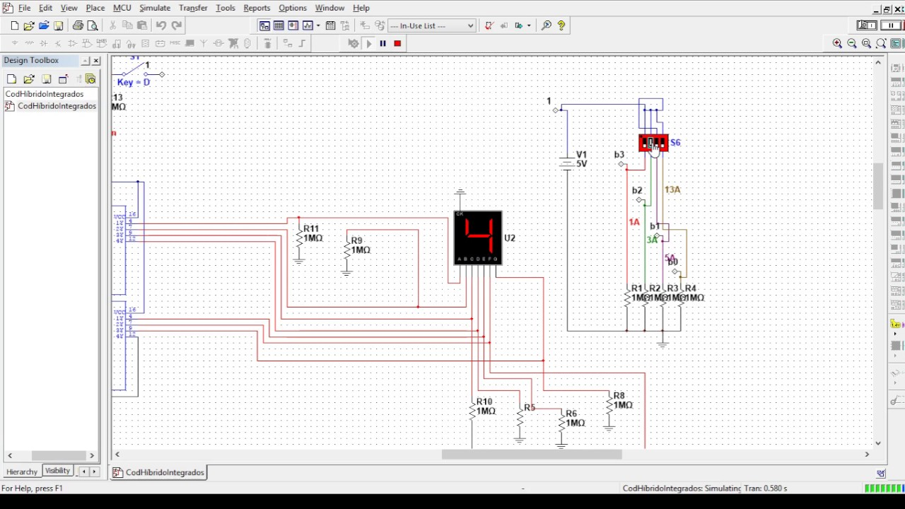 binary to decimal and hex decoder with logic gates simulation on multisim [ 1280 x 720 Pixel ]