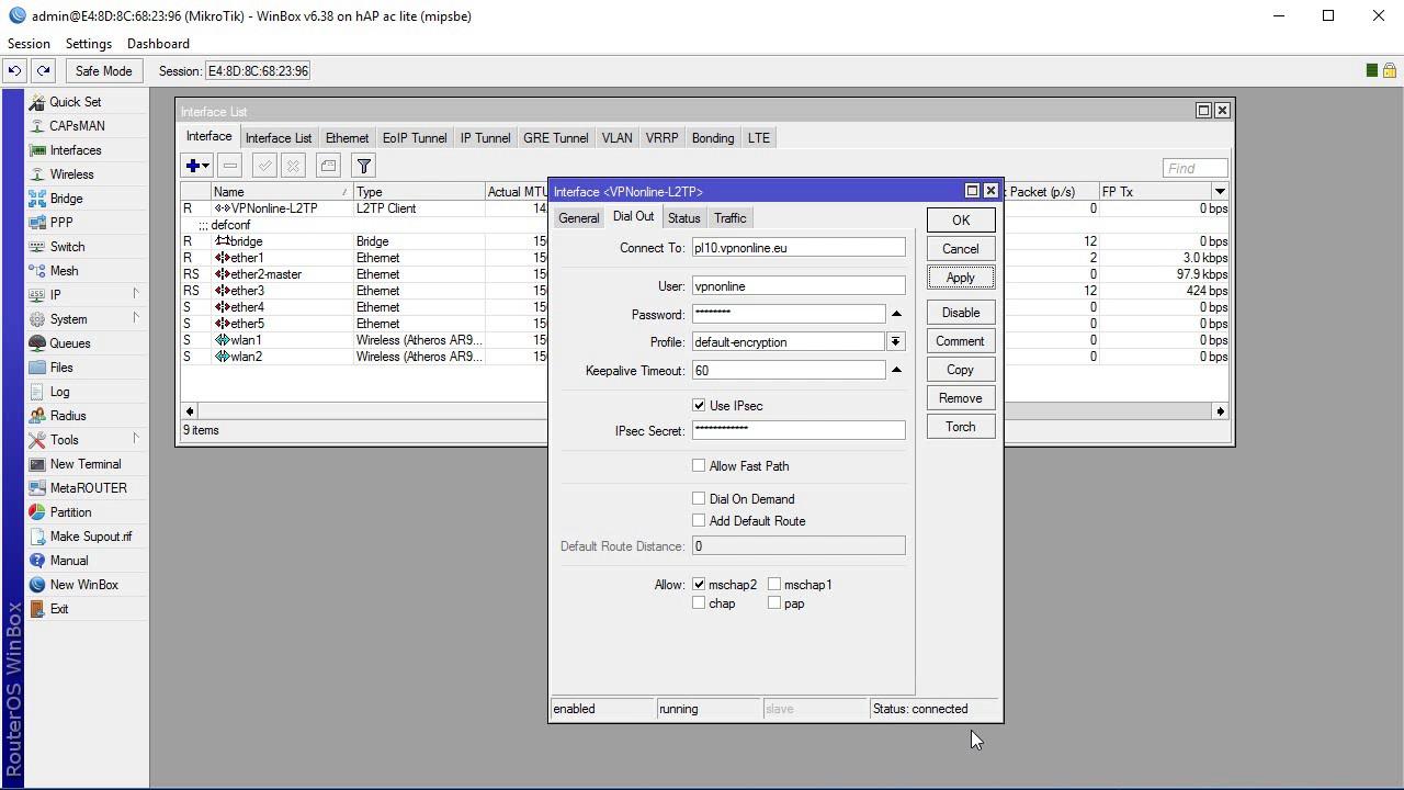 Mikrotik configure vpn client