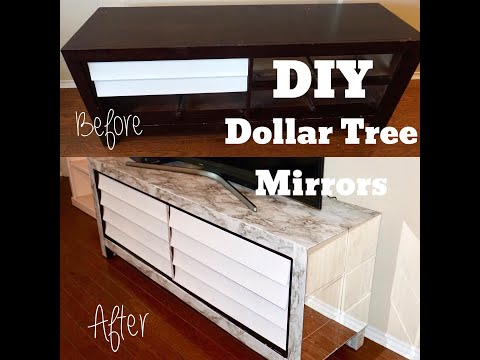 DIY FURNITURE TRANSFORMATION!!! USING DOLLAR TREE MIRRORS & MARBLE CONTACT PAPER