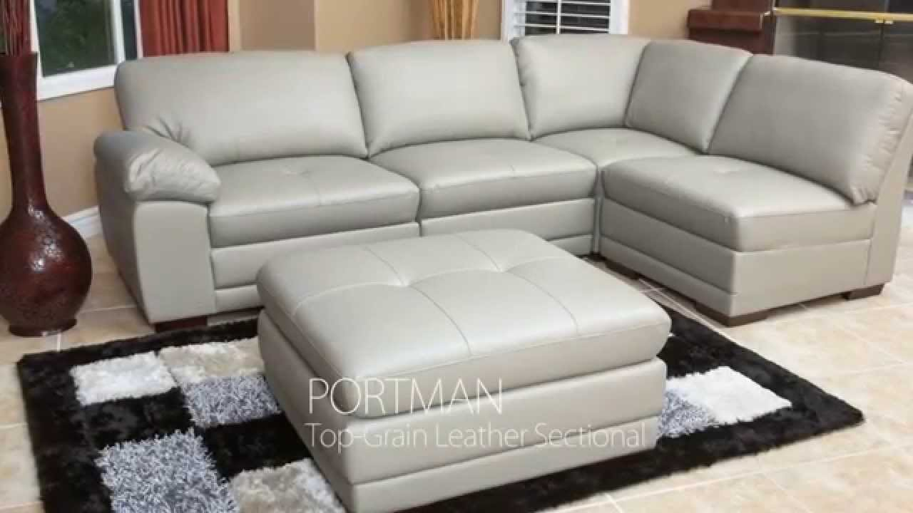 Abbyson Living   Gray Leather Modular Sectional Set