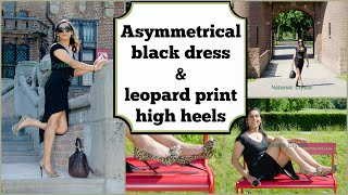 Crossdresser - asymmetrical black dress in leopard print stiletto high heels | NatCrys