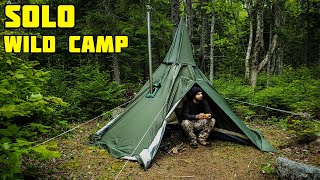 Alone in the wilderness (campfire cooking) hot tent camping