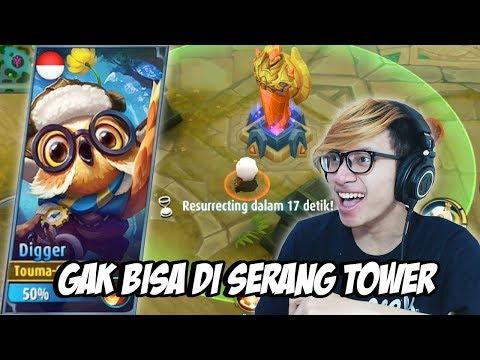 NEW HERO DIGGER GAK BISA DI SERANG TOWER ! - MOBILE LEGENDS INDONESIA