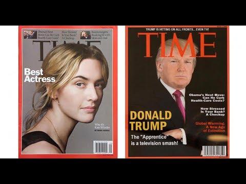 Trump Displays Fake Time Magazine Covers of Himself