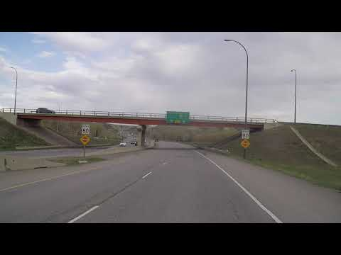 Driving To LETHBRIDGE Alberta Canada. Highway To City. High Level Bridge View.